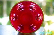 画像5: ボヘミアン 色被せ オーバーレイ クランベリー ガラス ベース 花瓶 花器 (5)