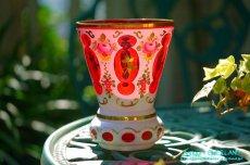画像11: ボヘミアン 色被せ オーバーレイ クランベリー ガラス ベース 花瓶 花器 (11)