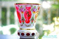 画像1: ボヘミアン 色被せ オーバーレイ クランベリー ガラス ベース 花瓶 花器 (1)