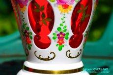 画像9: ボヘミアン 色被せ オーバーレイ クランベリー ガラス ベース 花瓶 花器 (9)