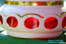 画像4: ボヘミアン 色被せ オーバーレイ クランベリー ガラス ベース 花瓶 花器 (4)