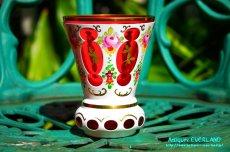 画像7: ボヘミアン 色被せ オーバーレイ クランベリー ガラス ベース 花瓶 花器 (7)