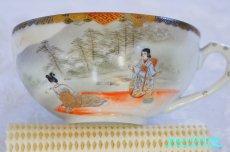 画像10: 神戸山手 寺岡 カップ&ソーサー ペア 卵殻焼 エッグ・シェル 明治 輸出 (10)