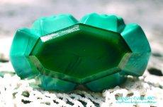 画像8: アールデコ ボヘミアン マラカイトガラス 香水瓶 パーフュームボトル (8)