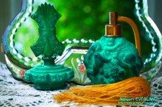 画像20: アールデコ ボヘミアン マラカイトガラス 香水瓶 パーフュームボトル (20)