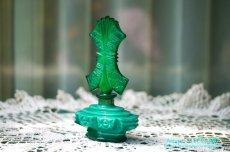 画像2: アールデコ ボヘミアン マラカイトガラス 香水瓶 パーフュームボトル (2)
