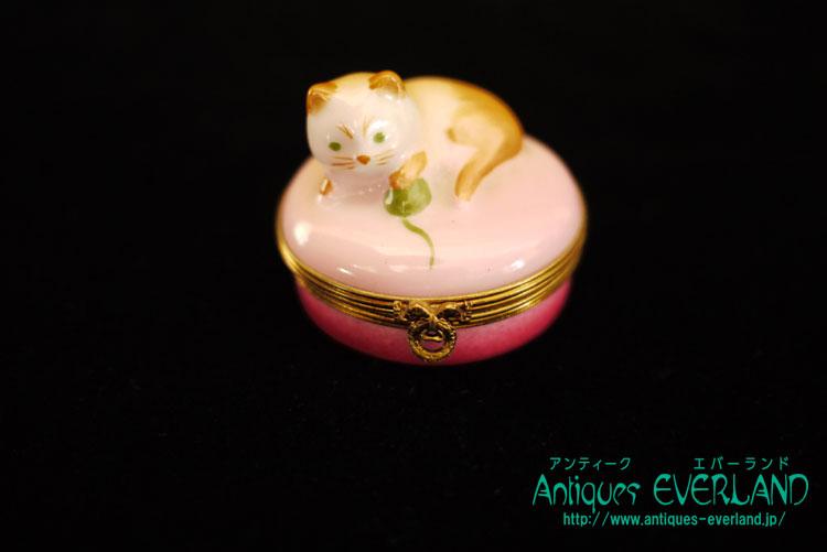 画像1: リモージュ ピルケース 毛糸玉 猫 (1)
