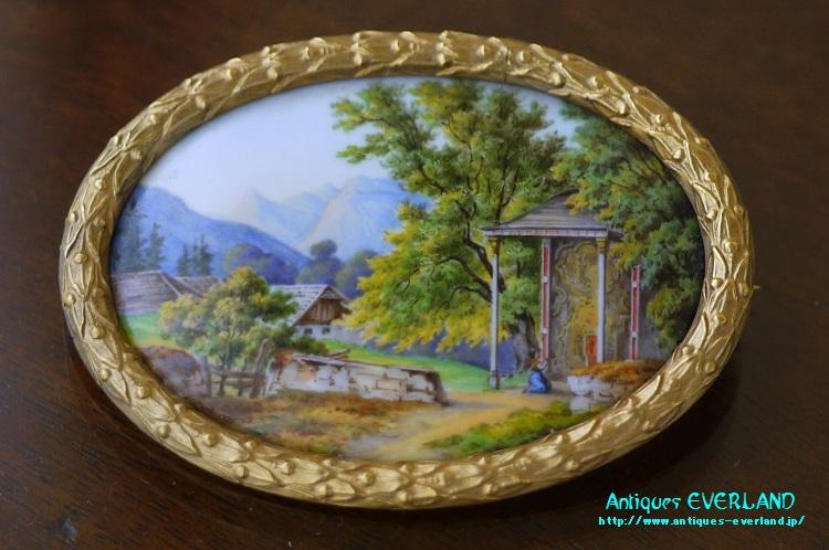 画像1: ナポレオンIII 陶板 ブローチ (1)