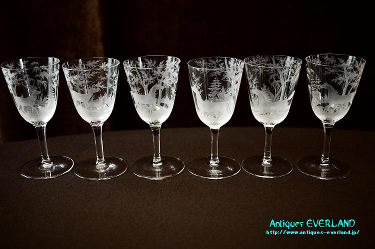 画像1: ボヘミアンガラス エングレービング・グラヴュール 森林文 グラス 6本 セット (1)
