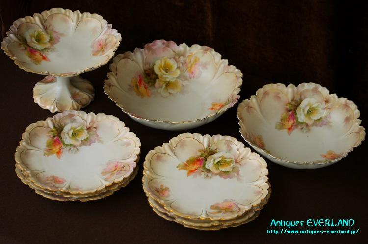 画像1: フランス製 デザート セット 薔薇 (1)