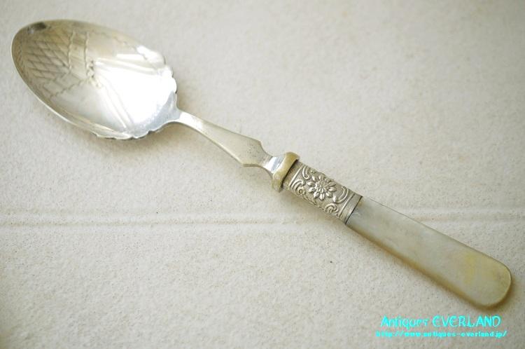画像1: シルバー ジャムスプーン マザーオブパール 花籠 (1)